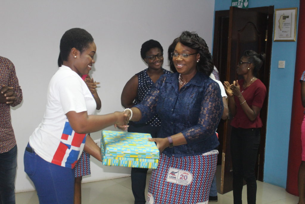 Emefa presenting gift on behalf of NSPs to L'aine